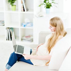 Beautiful woman talking online