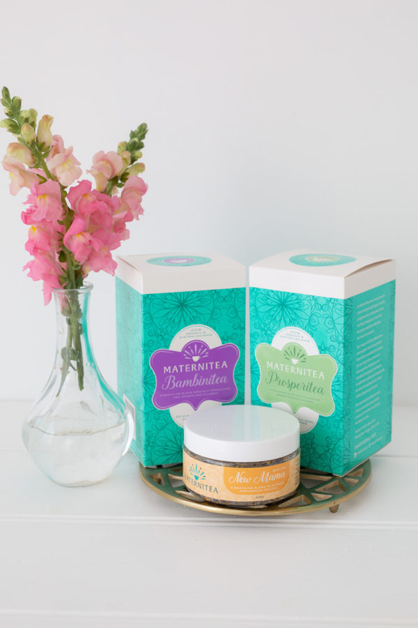 New Mama Bundle with Tea Bags and Bath Salts Packaging